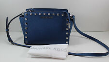 NEW AUTHENTIC MICHAEL KORS SELMA STUD BLUE MD MESSENGER WOMENS HANDBAG CROSSBODY