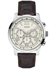 GUESS Men U0380G2 Classic Silvertone Brown Leather Strap Multi-function