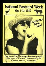 National Postcard Week 1989 Sunglasses Food Straw Hat Iola Wisconsin WI
