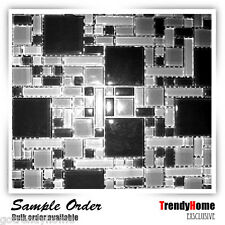 Sample-Black pattern Glass Mosaic Tile polished  Kitchen backsplash wall sink