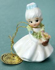 Vtg Napcoware Bone China Figurine December Xmas Rose Flower Girl of Month Green