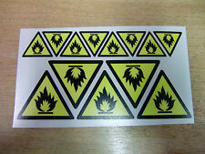 SAFETY LABELS - FLAMMABLE symbol - decals/stickers x13