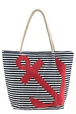 Designer Style Navy and White Striped Print Anchor Stud Tote Beach Travel Bag