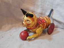 Vintage Marx Wind-up Cat with Ball Tin Toy 1930s Yellow with Blue Tail