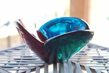 Vintage 1958 Mid-Century BLENKO Tri-color Lobed Red, Green, Blue Glass Bowl 3""