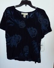 NORTON MCNAUGHTON NAVY PAISLEY TOP BLOUSE SIZE LARGE NEW W/ TAGS RAYON POLYESTER