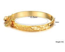 For Children /Baby Gift Jewelry Bracelet Gold Cuff bangle Sweet Heart Bell 1.7''