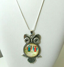 White Gold Necklace Womens Girls 30in Chain Alloy Owl Pendant cabochon