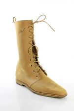 Isaac Mizrahi Camel Beige Suede Gold Tone Lace Up Square Toe Mid Calf Boots Size