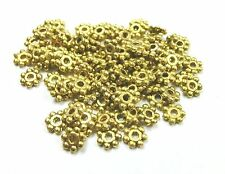 100 Daisy Spacer Metallperlen 4mm Farbe antikgold  #S589