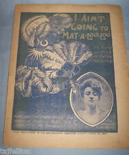 """Coon Song""  I AIN'T GOING TO MAT-A-LOO-LOO (Zulu Land),1904 SF Sheet Music,RARE"