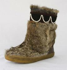 TORY BURCH Womens HEATHER BROWN/COCONUT BEAD BOOTIE RABBIT FUR Flat Boot 35-5