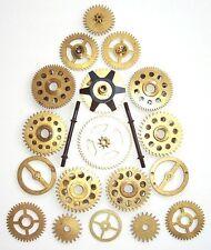 Lot of 18 vintage clock brass gears wheels cogs 18-32 mm. Steampunk Art parts