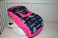 INFANT CAR SEAT CARRIER COVER M/W DALLAS COWBOYS PINK FABRIC
