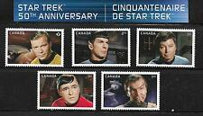 CANADA  2016 STAR TREK 50 TH ANNIVERSARY 5 STAMPS M N H FROM SOUVENIR SHETT