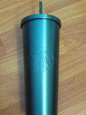 New Starbucks HIGH-RISE TURQUOISE BLUE Stainless Steel Cold Cup Tumbler 24oz