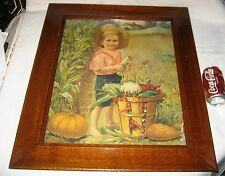 ANTIQUE GERMAN FOLK ART COUNTRY CORN FARM BOY PICTURE PRINT LITHO WOOD FRAME USA