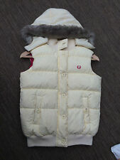 VTG FRED PERRY BODY WARMER GILET UK 8 SMALL FUR HOOD QUILTED PUFFER VEST