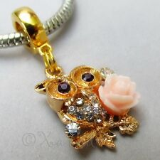 Owl And Rose Clip On Rhinestone European Charm Pendant For Large Hole Bracelets