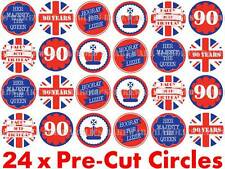 24 x PRE CUT Queens 90th 90 Birthday Party Edible Union Jack Cup Cake Toppers