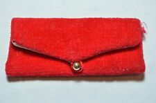 VINTAGE BARBIE RED VELVET CLUTCH WITH GOLD BUTTON