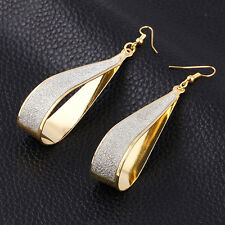 Fashion Women Silver / Gold Crystal Scrub Water Drop Hook Dangle Earrings Party