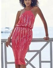 New *Next* (size Uk 12 Tall) Orange / Coral Chiffon Sequined  Dress ,