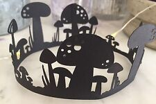 Fairy Ring Toadstools (black) Die Cut Shapes (x6).Ideal For Cards/ fairy Jars