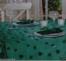 St Patrick's Day Green Flocked Shamrock 58x84 Oblong Tablecloth NIP