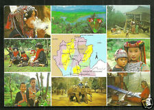 North Thailand Map postcard Hill Tribes Opium Costume