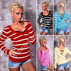 New Sexy Ladies Womens Jumper Unique Striped Sweater Top V-Neck size 8/10/12