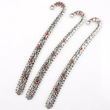 5pcs 145209 Hotsale Silver Plated Red Rhinestone Flower Charms Alloy Bookmark