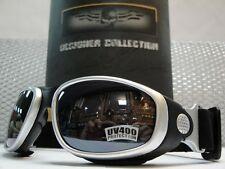 NEW MOTORCYCLE BIKER SPORT Day RIDING PADDED GLASSES GOGGLES Silver Black Frame