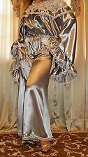 Vtg New Silver Satin Lace Long Palazzo Pant Suit Slip Jumpsuit Nightgown 1X 2X