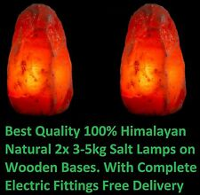 2 x HIMALAYAN PINK SALT ROCK CRYSTAL LAMP 3-5KG NATURAL HEALING IONIZING LAMPS