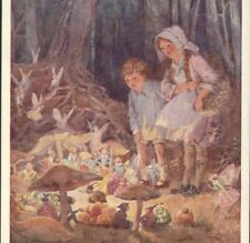 """FAIRY MARKET"" CHILDREN WATCH PIXIES,FAIRIES,ELVES,MUSHROOMS,TARRANT POSTCARD"