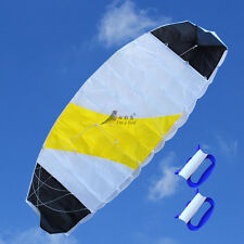 NEW 1.4m Rainbow Power Dual Line Stunt Parafoil Parachute Kite Sports Surfing
