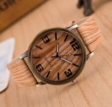 UK SELLER! New Stylish Wooden Look Watch Men's Women's Unisex Wood Wristwatch