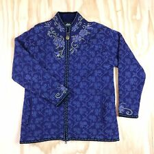 Icelandic Design Size M Zip Sweater Jacket Wool Blend Fully Lined Embroidered