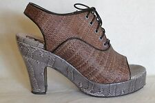 Rochas Brown Woven Lace Up Shoes w/Snakeskin Heels & Platforms Sz 7.5 / 37.5