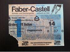Eintrittskarte Ticket 1. FC NÜRNBERG - VfL BOCHUM 1991/92 Bundesliga Club