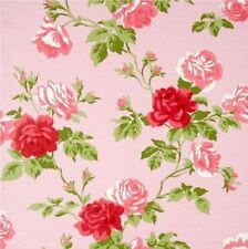 Floral Antiguo Rosa Blanco Rojo Rosa Puntos Shabby Chic Bouquet Wallpaper