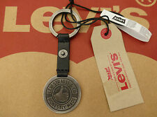 LEVI'S Thumbs Up Key Fob Black Leather Antique Silver Stud Key Ring BNWT