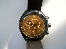 Fossil Chronograph men's brown leather quartz,battery,Analog dress watch.Ch-2782