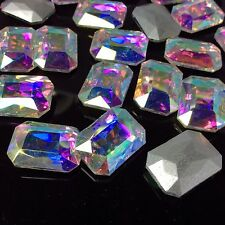 8*10mm Oblong Rhinestones Point back Crystal Glass Beads Stones Chaton 100ps UK