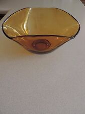 Vintage Amber Yellow Glass Chip and Dip Bowl Replacement Bowl Large Bowl Only