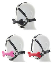 Silicone Dog Bone Sex Mouth Plug Gag BDSM Bondage Fetish Harness Restraint Pink