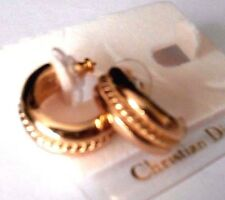Signed Christian Dior Post Earrings Gold Plated Huggies New - Dior Logo