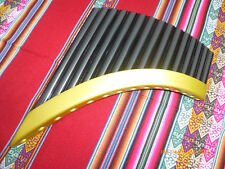 PAN FLUTE TUNABLE 15 PIPES GOLD AND BLACK   FROM PERU -SEE VIDEO -CASE INCLUDED