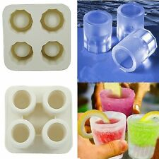 Silicone 4 Cup Shot Glass Mold Cool Shooters Ice Cube Tray Dishwasher Safe New